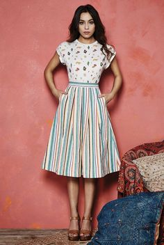 Valley of the Dolls Pasadena Stripe Jacquard Skirt Box Pleat Skirt, Stripe Skirt, Box Pleats, Pretty Outfits, Pretty Dresses, Beautiful Dresses, Pretty Clothes, Work Outfits, Dirndl Skirt