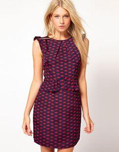 Oasis Lip Print Peplum Dress  $73