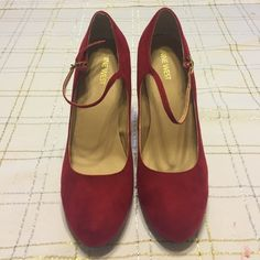Nine West suede red pumps! Wore only once! Brand new Nine West heels! I've worn them one time and are in perfect, perfect condition! Nine West Shoes Heels