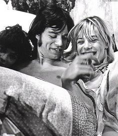 theswinginsixties:  Mick Jagger and Anita Pallenberg on the set of 'Performance', 1968.