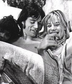 theswinginsixties:  Mick Jagger and Anita Pallenberg on the set of'Performance', 1968.