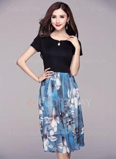 Dresses - $57.28 - Polyester Floral Short Sleeve Mid-Calf Vintage Dresses (1955102639)