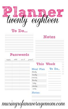Free printable planner pages: meal planner, to do list, notes, passwords, calendar and more!