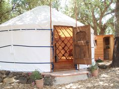 This is an example of a modern canvas covered Mongolian Ger.  ©Yurt Hotel