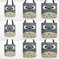 My Neighbor Totoro Kawaii Joe Grey Anime Manga Troll Hayao Miyazaki Gift Custom Graphic Pop Art Print Tote Bag Idea 13 x 13 16 x 16 18 x 18. Great for