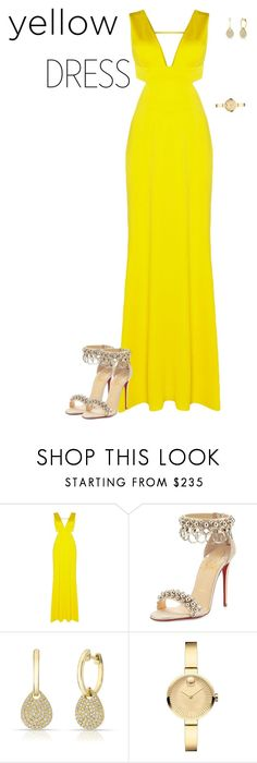 """""""yellow dress"""" by angela-vitello on Polyvore featuring Adrianna Papell, Christian Louboutin, Anne Sisteron, Movado and yellowdress"""