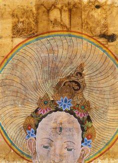 White Tara Ascending (mixed media on wood panel)