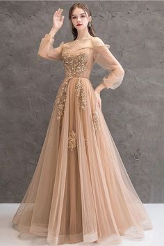 Champagne tulle beads long prom dress, champagne evening dress, Customized service and Rush order are available Champagne Evening Dress, Grey Evening Dresses, Elegant Dresses, Pretty Dresses, Beautiful Dresses, Champagne Color Dress, Unique Formal Dresses, A Line Evening Dress, Afternoon Dresses