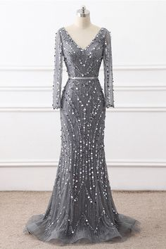 Heavy Beading Handmade Mermaid Long Sleeve Sexy V-neck evening party gown V Neck Prom Dresses, Prom Dresses Long With Sleeves, Elegant Prom Dresses, Beautiful Prom Dresses, Mermaid Prom Dresses, Cheap Prom Dresses, Beaded Dresses, Dress Long, Evening Party Gowns