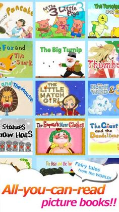 How about watching your kids' favorite stories on your TV screen? This app features 18 stories from all around the world new titles being added every month). Now all subscriptions on SALE! Free Games For Kids, Early Reading, All You Can, Picture Books, Book Collection, Childrens Books, Hand Drawn, Fairy Tales, Free Apps