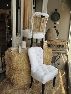 rustic & refined elements combine>  I am liking these chairs for the dining room