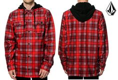 Volcom Mens 2016 Field Bonded Flannel Snowboard Red Plaid Shirt Jacket Hoodie L #Volcom