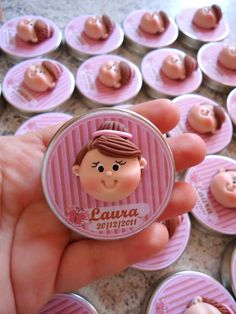 decorate the lid of glass jars with polymer clay. For background print your own design on a sticker paper Polymer Clay People, Cute Polymer Clay, Polymer Clay Dolls, Cupcake Toppers, Fondant Toppers, Childrens Cupcakes, Ballerina Cakes, Ballerina Party, Clay Magnets