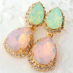 Shop Mint Chandelier Earrings on Wanelo