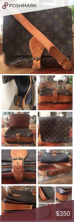 """AUTHENTIC LOUIS VUITTON CARTOUCHIERE MM 100% Authentic Louis Vuitton Cartouchiere MM Cross body Shoulder Bag Monogram. This is a very comfortable vintage bag. Monogram Canvas is in good condition, no scratches or tears. Vachetta leather shows stains (Pic 3) and has turned into a honey patina. Strap is in good shape, still strong, has minor wear and no cracks 👍🏻Inside is clean. W10.2"""" H8.2""""x D3"""". Shoulder drop 48""""X 52"""" Made in France. Date code SL0950 Louis Vuitton Bags Crossbody Bags"""