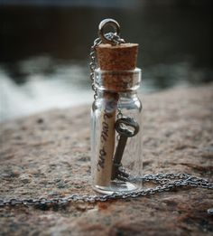Key and Message Bottle Necklace