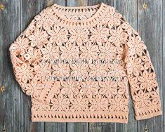 Coral Pullover Crochet pattern by Natalia Kononova Crochet Cardigan, Crochet Lace, Crochet Off Shoulder Top, Top Boho, Top Pattern, Crochet Patterns, Knitting Patterns, Sweaters For Women, Morning Star