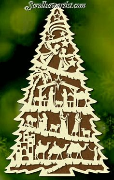 Scroll Saw Patterns :: Holidays :: Christmas :: Trees :: Large Nativity tree - More