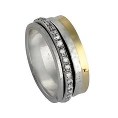 Spinner Ring unisex silver and gold rings with CZ zircons Meditation Ring #Bluenoemi #Spinner