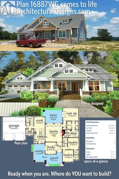 This version of Architectural Designs House Plan 16887WG was built in Kentucky about as true to the original design as we've seen it. Ready when you are. Where do YOU want to build?Specs-at-a-glance 3 beds 2 baths 1,800+ sq. ft.