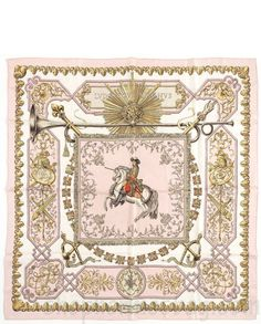 "Hermes Pink, White & Gold ""Ludovicus Magnus"" by Francoise De la Perriere Silk Scarf"
