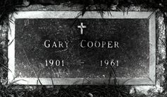 Gary Cooper - American film actor known for his natural, authentic, and understated acting style and screen performances. His career spanned thirty-five years, from 1925 to and included leading roles in eighty-four feature films. Cemetery Headstones, Old Cemeteries, Cemetery Art, Graveyards, Grave Monuments, Famous Tombstones, Beverly Hills, Lady Of Lourdes, Famous Graves