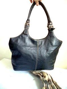 DANIER hobo Bucket Bag Black Prince leather Contrast Stitch Town College Vintage 90s Bling silver ring Satchel Holdall tote Handbag Purse by MushkaVintage3 on Etsy