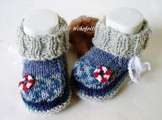 Strick- & Häkelschuhe - Babyschuhe Babystiefel Ahoi - ein Designerstück von strickliene bei DaWanda