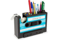 What a groovy idea for storage on your desk! J-ME Rewind Desk Tidy Office Stationery Organiser Cassette Tape Dispenser