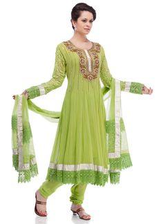 Gorgeous Green Georgette Anarkali Suit