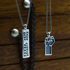 "These necklaces are both available on a 16"" or 18"" chain. You also have the option to get no chain and just the pendant for a bit less.  Check them out in my shop under the ""Necklaces"" section. Dog Tag Necklace, Peace, Necklaces, Sterling Silver, Chain, Pendant, Shopping, Jewelry, Jewellery Making"
