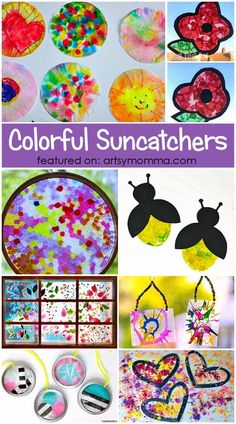 DIY  SUNCATCHERS kids can make at home to add some cheer to windows! #kidscrafts #artsymommadotcom #artsncrafts Crafts For Teens To Make, Spring Crafts For Kids, Craft Projects For Kids, Summer Crafts, Diy Crafts To Sell, Kids Crafts, Kids Diy, Craft Ideas, Spring Art Projects