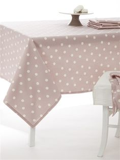 DOTTED TABLECLOTH OLD PINK+TAUPE+GREY