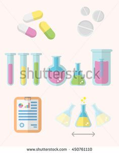 Chemical Education vector set for various presentations. Chemistry set with various flasks and test tubes.