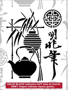 Japan stencil from The Stencil Library VINTAGE range. Buy stencils online. Stencil code VN192.