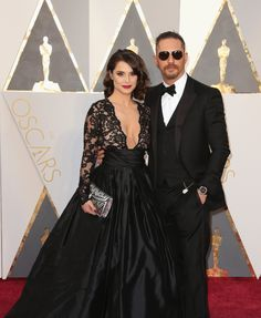 Charlotte Riley and Tom Hardy in Christian Louboutin shoes and Cutler and Gross sunglasses #Oscars 2016