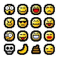 16 Emojies Pixel Art/perler Bead Template