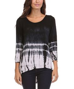 Look at this Urban X Black & White Tie-Dye Hi-Low Top on #zulily today!