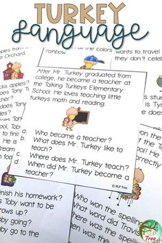 Thanksgiving speech therapy activity with 17 different language targets turkey theme