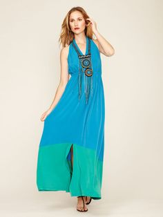 Colorblock Embroidered Front Maxi Dress by Ranna Gill at Gilt