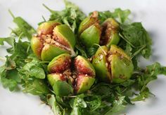 Grilled Gorgonzola Figs with Honey, Balsamic Dressing--YUM Fig Recipes, Best Salad Recipes, Crepe Recipes, Gourmet Recipes, Italian Recipes, Pancake Recipes, Gourmet Foods, Burger Recipes, Italian Christmas Cake