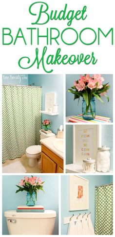 $100 bathroom makeover using old, new, and thrifted items!...I love this fresh blue and green color palette! Maybe this could inspire our bedroom decor?