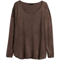 H&M Oversized jumper ($19) ❤ liked on Polyvore featuring tops, sweaters, shirts, long sleeves, brown marl, wide neck sweater, over sized sweaters, oversized shirt, longsleeve shirt and oversized long sleeve shirt