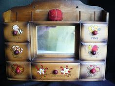 Small Vintage Seven Drawer Sewing Cabinet Marked Japan.