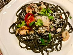 Venetian cuttlefish ink pasta with lightly smoked salmon, prawns, mussels and squid Fish Recipes, My Recipes, Pasta Recipes, Salmon Pasta, Cuttlefish, Mussels, Smoked Salmon, Prawn, Japchae