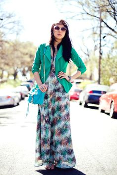 #maxi #fashion #dress #green #blazer #rebeccaminkoff     (giveaway for jewelmint on this post!)