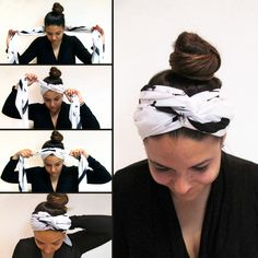 Here are the steps to nail this chic hairband look : 1) Fold a long thin scarf to create the hairband 2) Place the middle of the scarf at the nape of your neck, underneath your hair and hold each end with your hands. 3) Bring the ends to the top of your forehead and twist them twice to create a cute knot. 4) Tie the scarf under your hair.