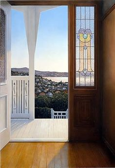 peter siddell - he is just amazing, i love all his paintings, another reason i love new zealand, and proud to be a kiwi New Zealand Houses, New Zealand Art, New Zealand Landscape, Nz Art, Maori Art, Kiwiana, Window View, Through The Window, Painting For Kids