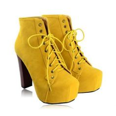 Yellow Suede and Chunky Heel Design Ankle Boots