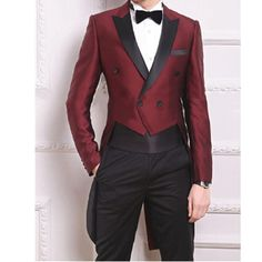 New Tailcoat Burgundy Suits for Mens Weddings Vogue Groom Tuxedos Back Vent Double Breasted Man Party Prom Wears(Jacket+Pants)